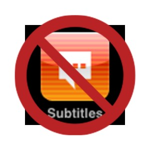"The Subtitles icon for the iPhone, covered by the International ""No"" Sign"