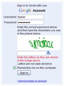 a captcha window