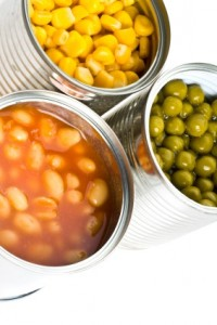 Tin Cans with corn and peas