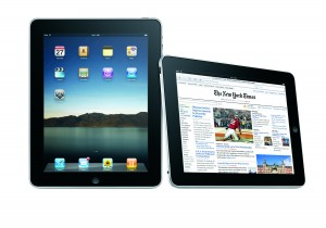 ipad shown with New york times