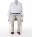 Pants worn by a mannequin seated in a chair