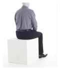 a seated mannequin wearing black pants