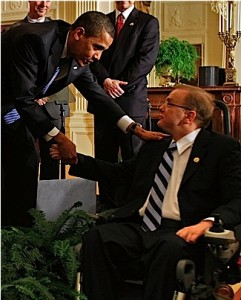 Jim Langevin shakes hands with Obama