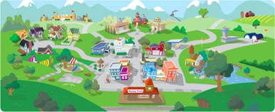 TeachTown interface - a colorful valley with houses