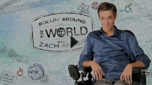"Zach Anner and a backdrop for his new TV Show ""Rollin' Around the World with Zach Anner"""