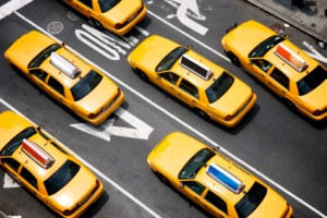 A fleet of taxis in NYC